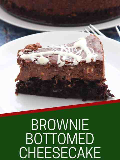 Pinterest graphic. Brownie bottomed cheesecake with text.