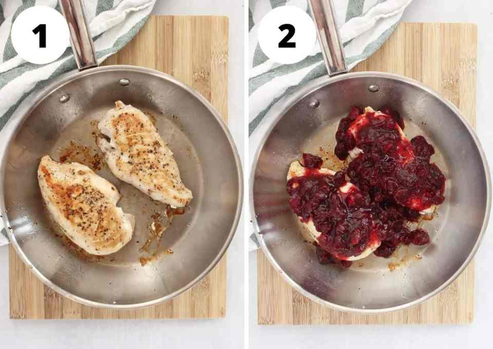 Two step by step photos to show how to cook the chicken in the skillet.