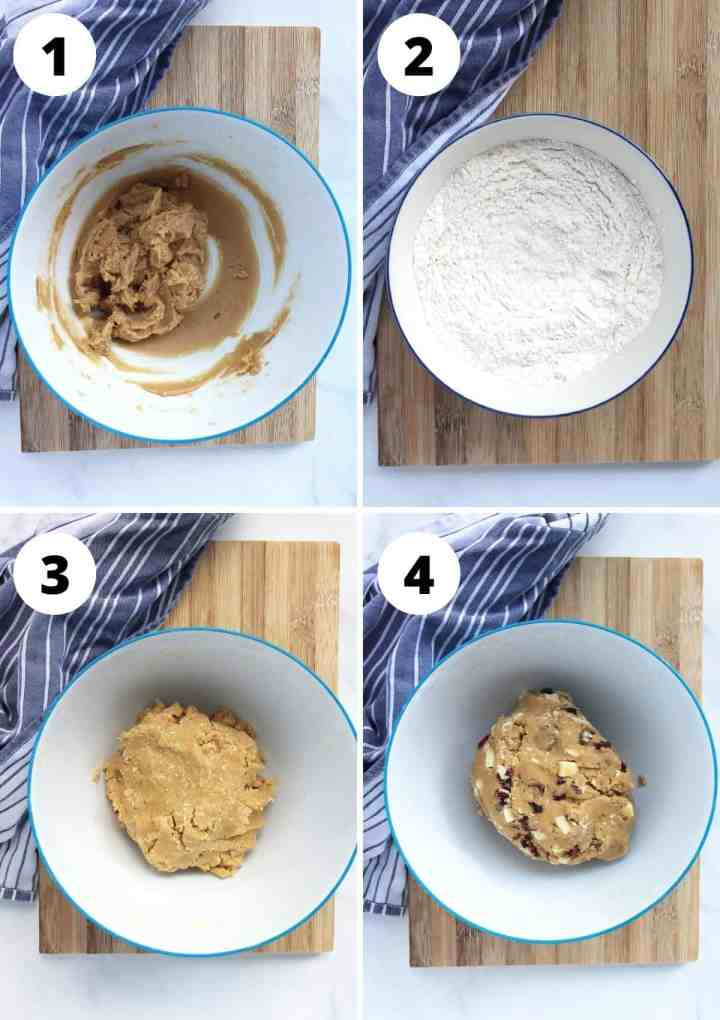 Four step by step photos to show how to make the cookie dough.