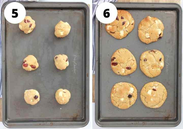 Cookie balls on a baking sheet before and after being baked.