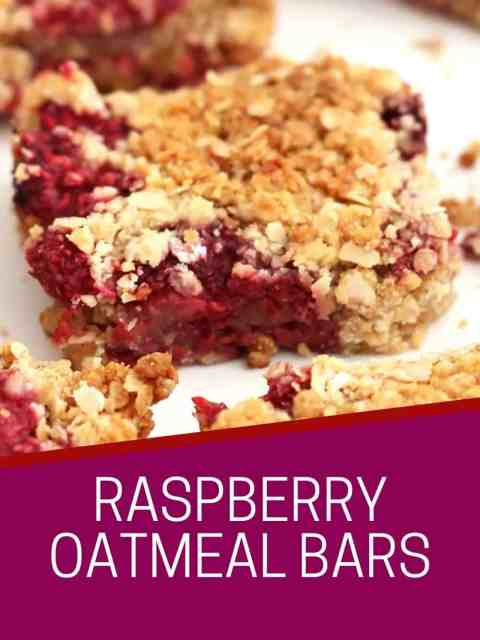 Pinterest graphic. Raspberry oatmeal bars with text.