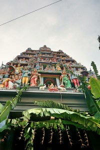 Facade of the Sri Mariamman temple in Chinatown
