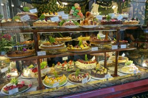 Cake display at a tearoom