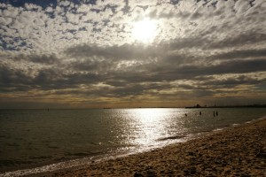 Cloudy sunset at St. Kilda Beach