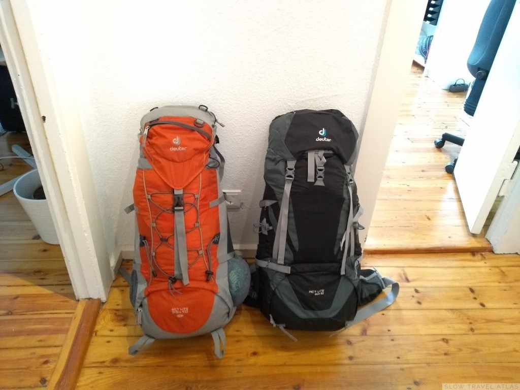 Two backpacks, fully packed