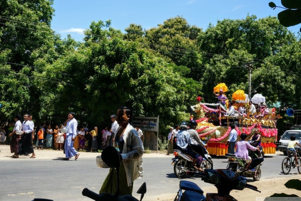 Big float in a procession in Myinkaba village