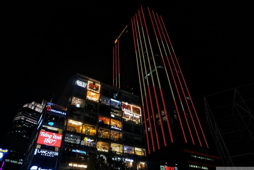 Nightime skyscraper in Ho Chi Minh City