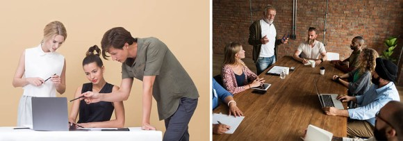 Example of two different stock photos that represent business collaboration and how they will affect your marketing strategy