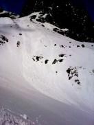 Spontánne splazy a malé lavíny v Ťažkej doline, 27. marec 2014