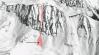 Schematický náčrt lavínovej dráhy a polohy strhnutých horolezcov