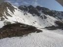 Zvyšky snehu pod Hrubou kopou a Troma kopami, Žiarska dolina, Západné Tatry, 5. máj 2014