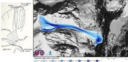 Pôvodný nákres lavíny z oficiálnej správy o tragédii / rekonštrukcia lavínovej dráhy pomocou moderných geoinformačných nástrojov