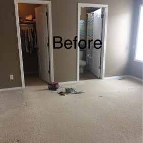 Before-worn carpet and dinged up walls