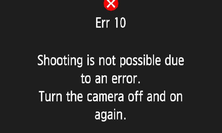 Фотоаппарат выдаёт ошибку