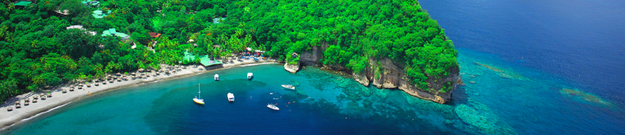 aerial view of bay in st lucia