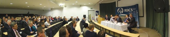 Audience and panel at RICS economic hustings