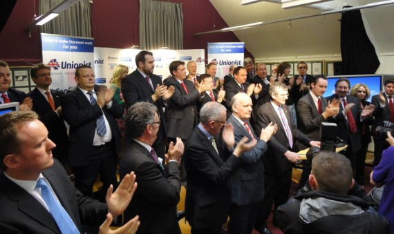 Candidates clap Tom Elliott at launch of UUP 2011 Assembly election manifesto in Linen Hall Library