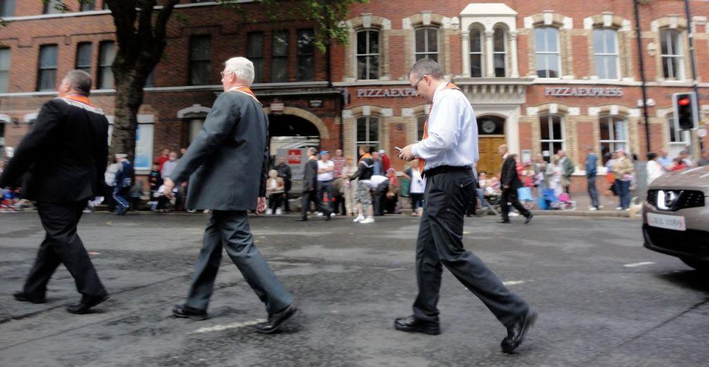 Lee Reynolds in transit at Belfast's Orange Parade, 12 July 2011