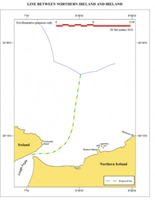Agreed line between Northern Ireland and Ireland at Lough Foyle