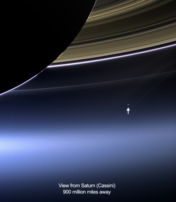 Annotated Cassini image of Earth in Saturn's rings