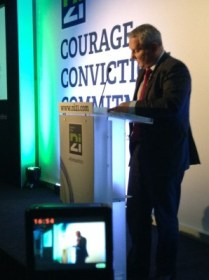 John McCallister delivering deputy leader speech at NI21's inaugural conference