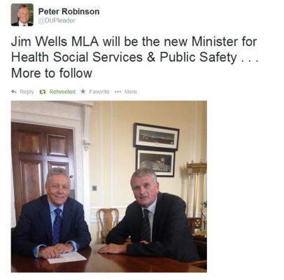 Peter Robinson announces his new Health Minister Jim Wells on Twitter
