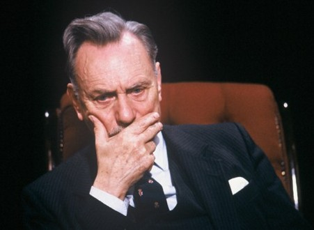 """Enoch Powell (1912-1998), UUP MP for South Down 1974-87, pictured here in Channel 4's """"After Dark"""" (1987)"""