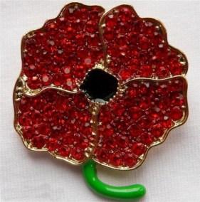 Crystal Poppy Brooch - 10% donation to Royal British Legion