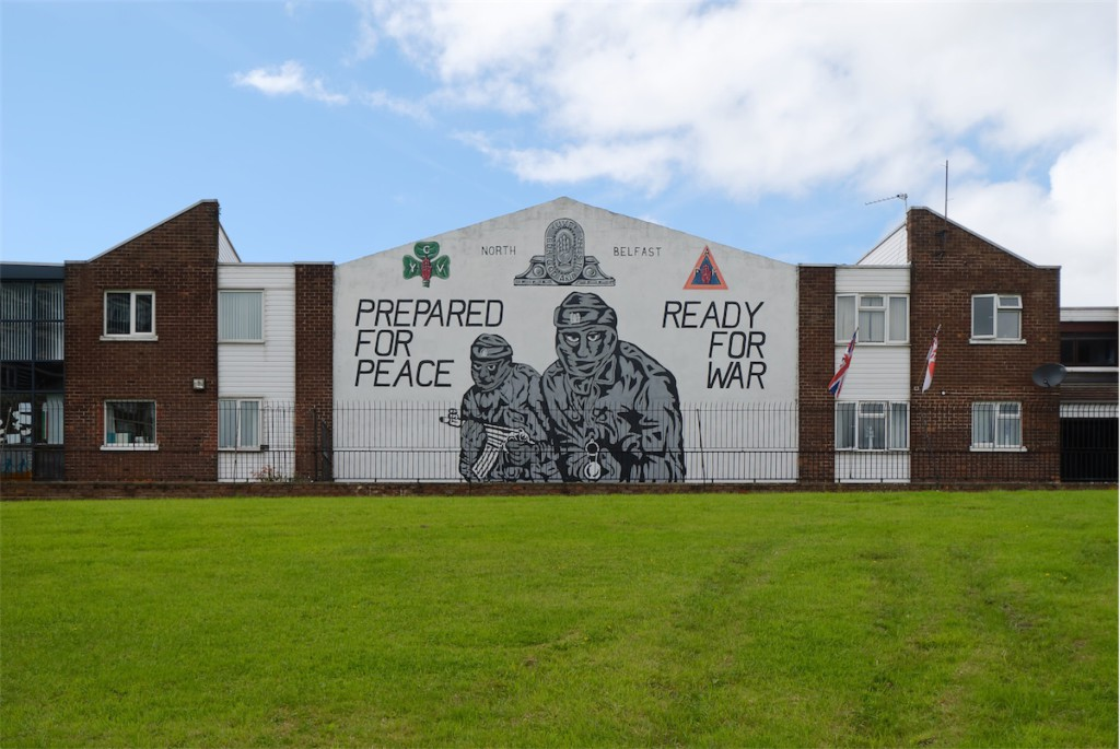 Mural depicting UVF uncertainty as to the direction of the peace process. Mount Vernon, North Belfast.