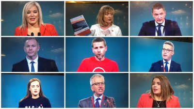 Nine Sinn Fein delegates from the north addressing November 2017 ard fheis