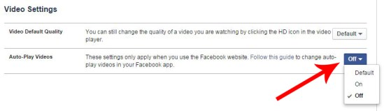 facebook video autoplay disable