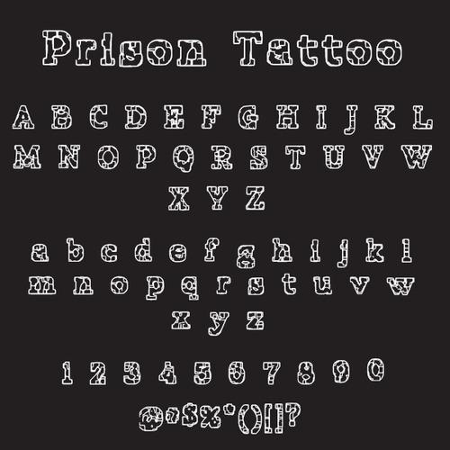 prison tattoo font