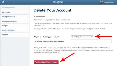 delete instagram account permanently