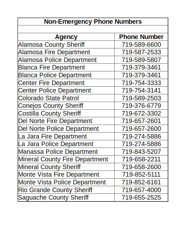 San Luis Valley Non-Emergency and Important Telephone Numbers – SLVoices