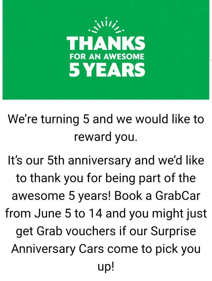Grab 5 years