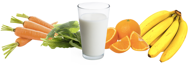 milk, fruits, and vegetables