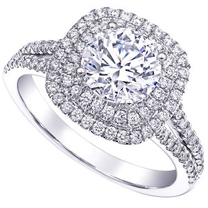 MyDiamond Dream Collection: 14K White Gold Double Halo Ring with 1 piece .43 carat White Center Stone and 84 pieces .45 carats White Side Stones