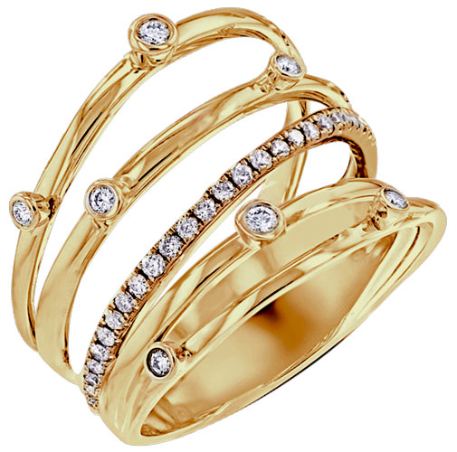 MyDiamond 18K Yellow Golf Cocktail Ring with 32 pieces .66 Carat Diamonds