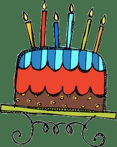 6 candles birthday cake