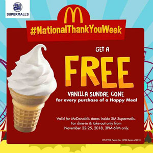 free vanilla sundae cone