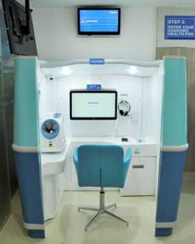 The HealthHub consists of self-service health pods for automated gathering of vital signs, including blood pressure and body temperature.