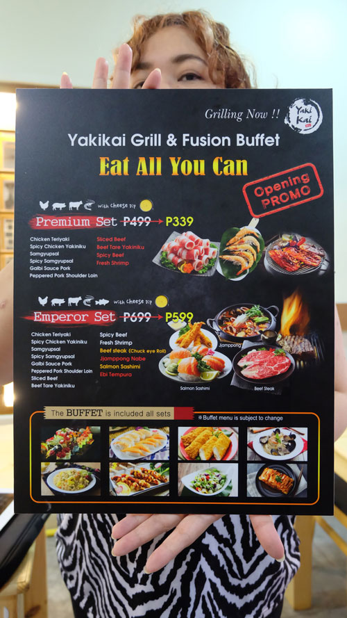 Yakikai all you can eat menu