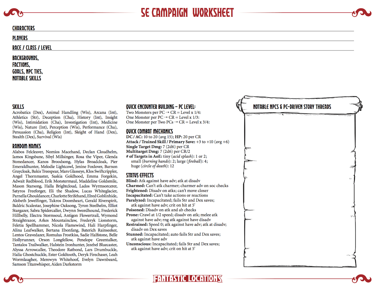 Dungeons And Dragons 5th Edition Campaign Worksheet Sly