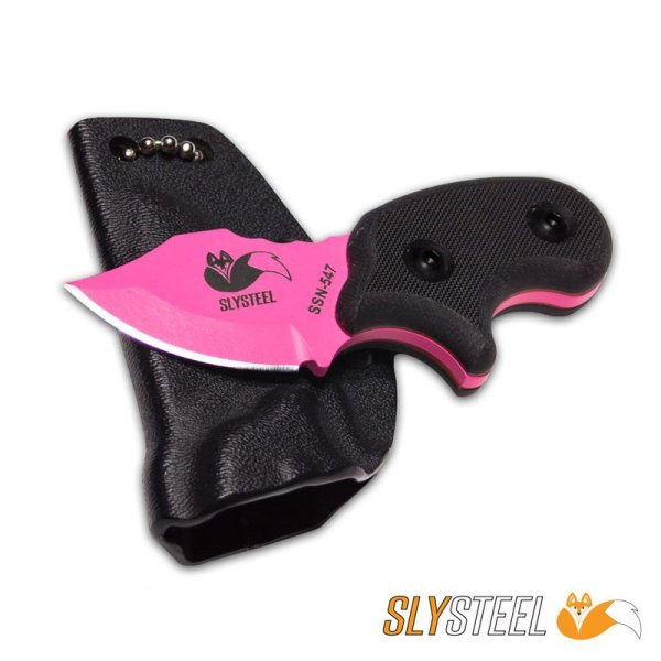 Picture of Final Option Blade FOB pink single edge black G10 handle neck and belt knife for self-defense and everyday carry (EDC)