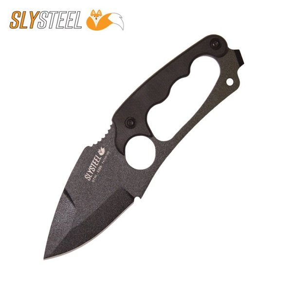 Photo of the Shark Tooth Hunter black powder coat knife with black G10 scales. Made for survivalists, hunters and campers by SLYSTEEL.