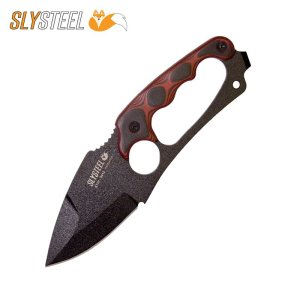 Photo of the Shark Tooth Hunter black powder coat knife with red black G10 scales. Made for survivalists, hunters and campers by SLYSTEEL.