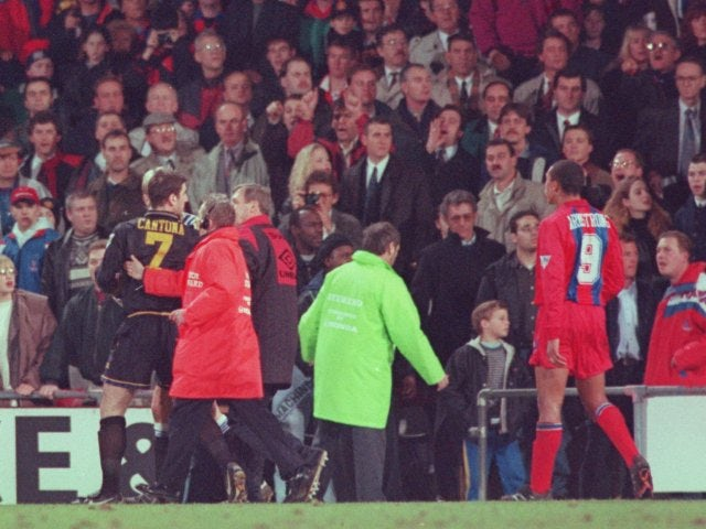 Find the perfect eric cantona france stock photo. On This Day Eric Cantona Kung Fu Kicks Crystal Palace Fan