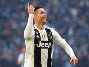 Cristiano Ronaldo celebrates scoring for Juventus on December 29, 2018