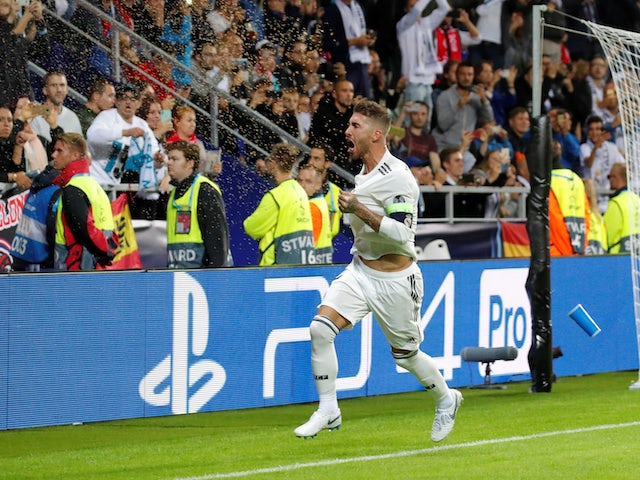 Real Madrid captain Sergio Ramos celebrates after scoring in his side's UEFA Super Cup clash with Atletico Madrid on August 15, 2018