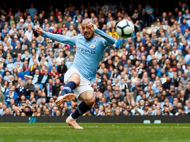 David Silva sticks it in during the Premier League game between Manchester City and Fulham on September 15, 2018